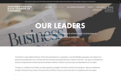 Screenshot of Menu Page northernvirginiabcc.org - Our Leaders — Northern Virginia Black Chamber of Commerce - captured Nov. 30, 2016