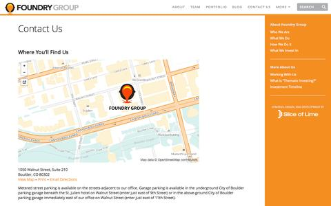 Screenshot of Contact Page foundrygroup.com - Contact Us | Foundry Group - captured Sept. 23, 2014