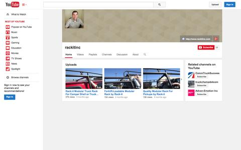 Screenshot of YouTube Page youtube.com - rackitinc  - YouTube - captured Oct. 26, 2014