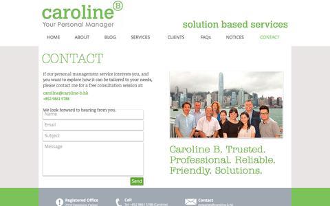 Screenshot of Contact Page caroline-b.hk - Contact - captured Oct. 25, 2016