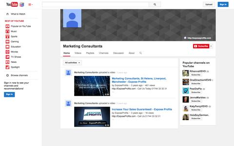 Screenshot of YouTube Page youtube.com - Marketing Consultants  - YouTube - captured Nov. 5, 2014