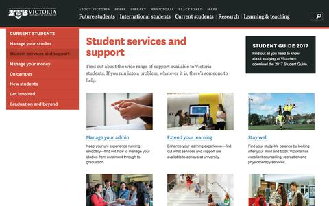 Screenshot of Support Page victoria.ac.nz - Student services and support | Victoria University of Wellington - captured Oct. 25, 2017