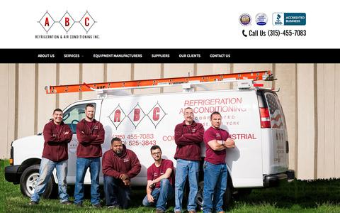 Screenshot of Home Page abcrefrigeration.com - ABC Refrigeration & Air Conditioning – Central New York's Leading Refrigeration and Air Conditioning Equipment and Repair Company - captured Oct. 6, 2017