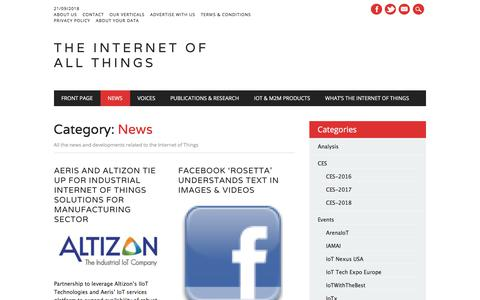 Screenshot of Press Page theinternetofallthings.com - News Archives - The Internet Of All Things - captured Sept. 21, 2018