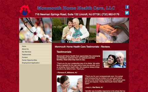 Screenshot of Testimonials Page monmouthhomehealthcare.com - Monmouth Home Health Care Testimonials - Reviews - captured Sept. 30, 2014