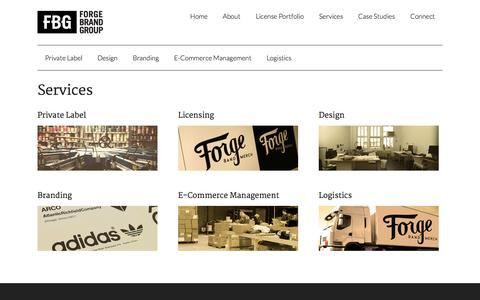 Screenshot of Services Page forgebrandgroup.com - Services - Forge Brand Group - captured Oct. 6, 2014