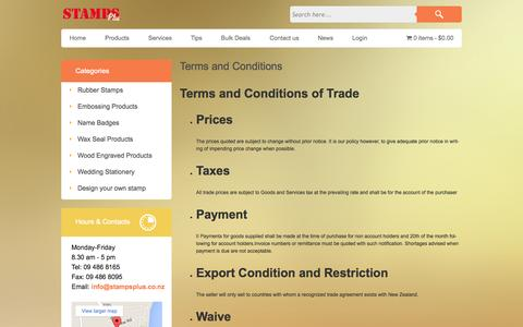Screenshot of Terms Page stampsplus.co.nz - Terms and Conditions  - Stamps Plus Ltd - captured Aug. 16, 2015
