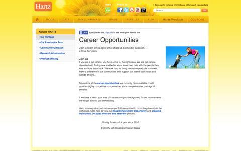 Screenshot of Jobs Page hartz.com - Hartz Career Opportunities & Jobs - Look For Careers & Jobs In The Pet Products Industry | Hartz.com - captured Sept. 22, 2014