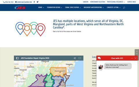 Screenshot of Locations Page jeswork.com - Locations - JES Foundation Repair Service Areas - captured Feb. 22, 2020