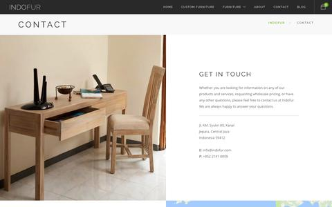Screenshot of Contact Page indofur.com - Indofur: Contact Indofur wood furniture manufacturer - captured June 7, 2017