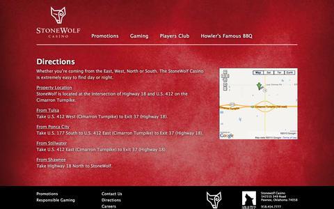 Screenshot of Maps & Directions Page stonewolfcasino.com - Stone Wolf - captured July 19, 2017