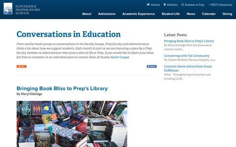 Screenshot of Blog flintridgeprep.org - Flintridge Prep: Conversations in Education - captured July 13, 2018