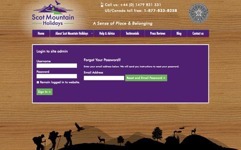 Screenshot of Login Page scotmountainholidays.com - Login to edit Scot Mountain Holidays - captured Sept. 30, 2014