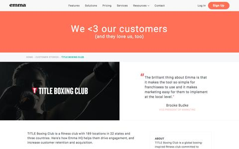 Screenshot of Trial Page myemma.com - Emma Customers: TITLE Boxing Club | Emma Email Marketing - captured Nov. 27, 2019