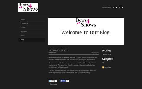 Screenshot of Blog bows4shows.com - Bows 4 Shows Rosettes & Show Supplies - Blog - captured Oct. 5, 2014