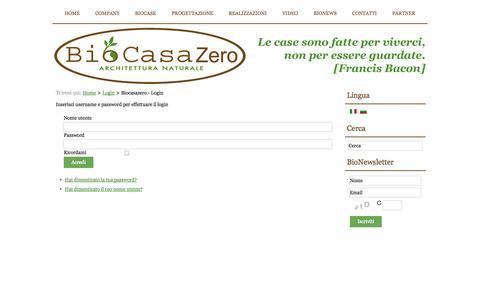 Screenshot of Login Page biocasazero.it - Biocasazero - Login - captured Oct. 5, 2014