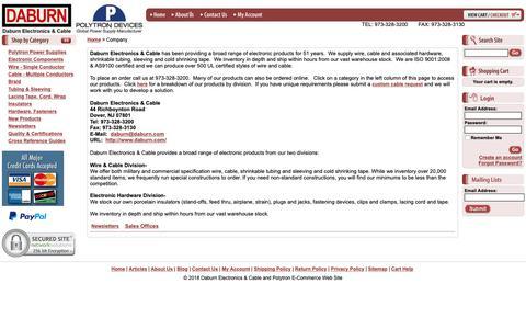 Screenshot of About Page daburn.com - Daburn Electronics & Cable and Polytron E-Commerce Web Site - Company - captured Nov. 13, 2018