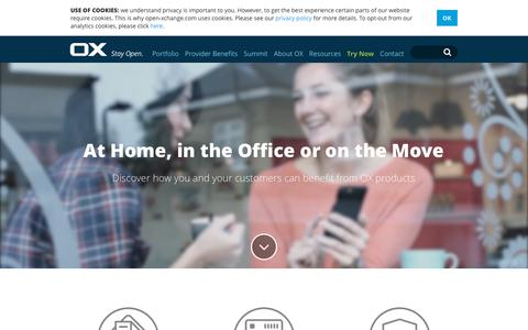 Screenshot of Home Page open-xchange.com - Home | Open-Xchange - captured Oct. 19, 2018