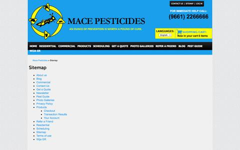 Screenshot of Site Map Page macepesticides.com - Sitemap » Mace Pesticides » An Ounce Of Prevention Is Worth A Pound Of Cure - captured Oct. 4, 2014