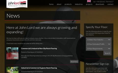 Screenshot of Press Page john-lord.com - Resin flooring north west, resin flooring UK   Latest news from John Lord & Son, resin flooring producers and suppliers serving the UK and Europe - captured Nov. 3, 2014