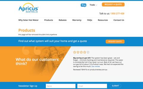 Screenshot of Products Page apricus.com.au - Products - Apricus - captured Nov. 21, 2016