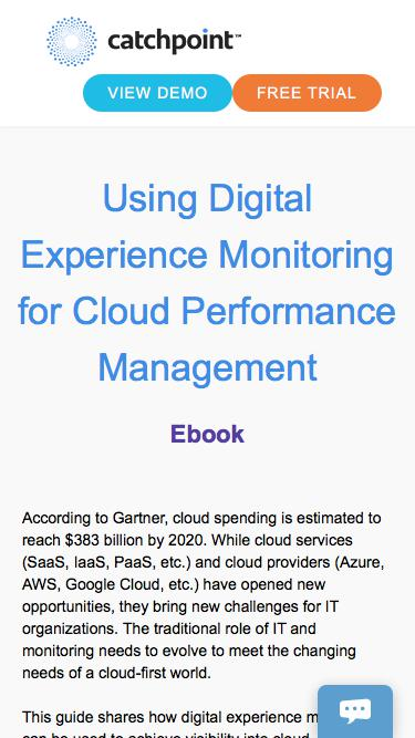 Using Digital Experience Monitoring for Cloud Performance Management | Catchpoint