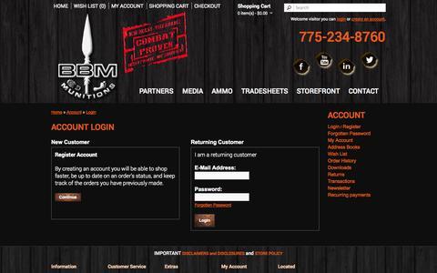 Screenshot of Login Page bbmun.com - Account Login - captured Oct. 5, 2014