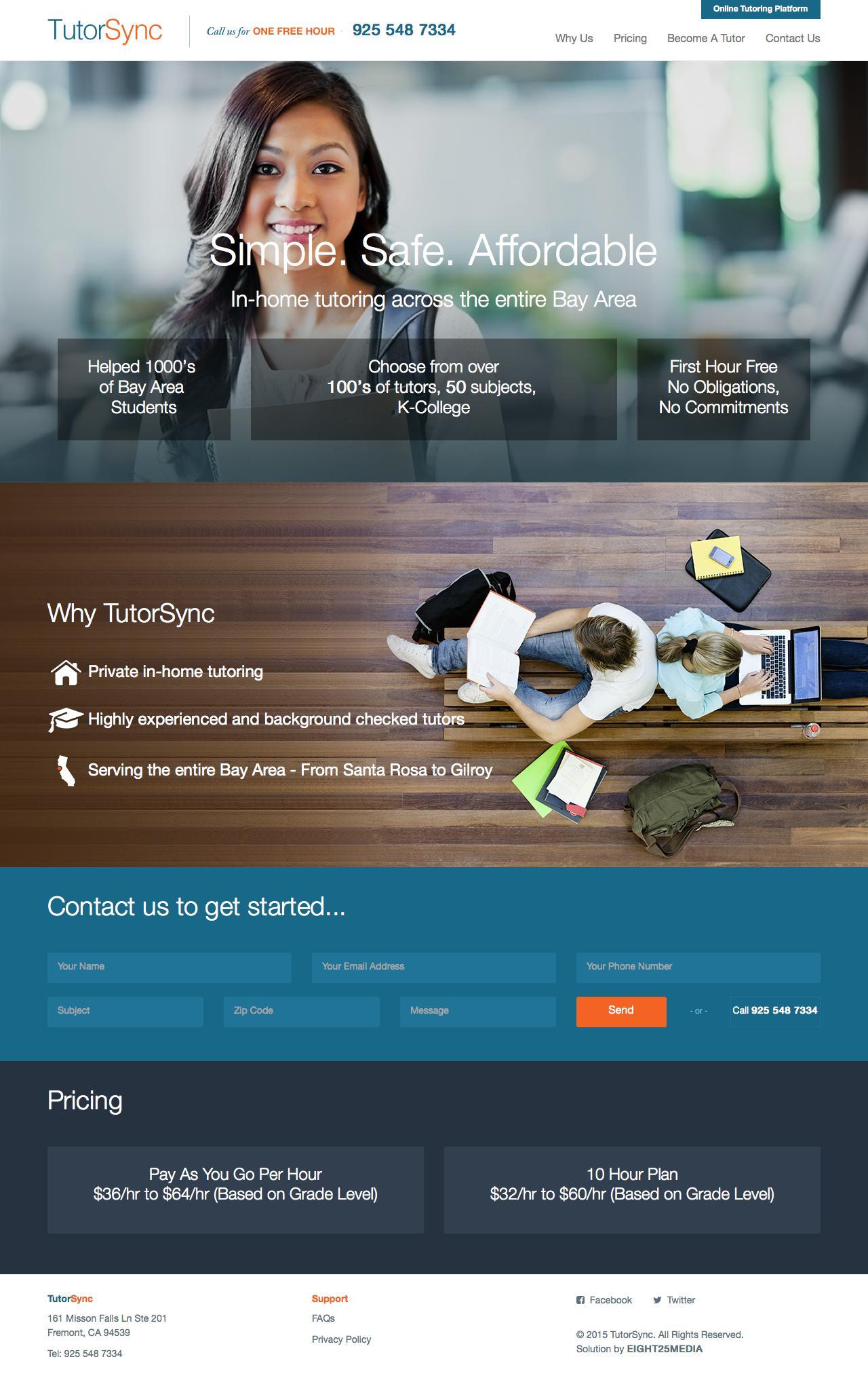 Screenshot of tutorsync.com - California Tutor Service | Bay Area Tutoring to San Diego | OneStopTutoring.com - captured July 27, 2015