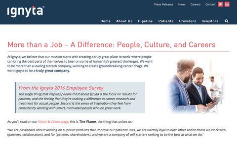 Screenshot of Jobs Page ignyta.com - Biotechnology Jobs | Ignyta Job Listings | Ignyta.com - captured Nov. 17, 2016