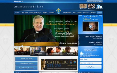 Screenshot of Home Page archstl.org - Archdiocese of St. Louis – The Roman Catholic Church in Saint Louis, MO - captured Sept. 25, 2014