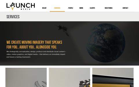 Screenshot of Services Page launchmedia.tv - Services | Launch Media | A Baton Rouge Video Production Company - captured July 16, 2018