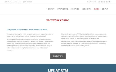 Screenshot of Jobs Page rtmassociates.com - RTM Engineering Consultants | Careers - RTM Engineering Consultants - captured Aug. 19, 2018