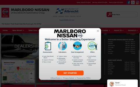 Screenshot of Hours Page marlboronissan.com - Hours of Operation - Marlboro Nissan - captured Sept. 20, 2018