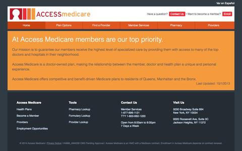 Screenshot of About Page accessmedicareny.com - Access Medicare - captured Oct. 4, 2014