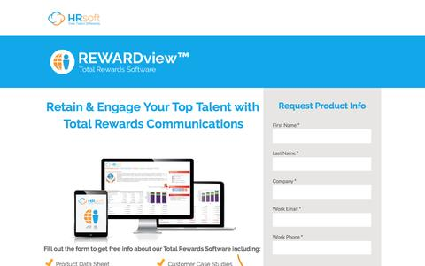 Screenshot of Landing Page hrsoft.com - Total Rewards Software by HRsoft - captured Sept. 6, 2016