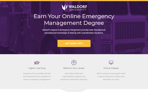 Screenshot of Landing Page waldorf.edu - Waldorf University Online | Online Emergency Management Degree - captured Sept. 19, 2018