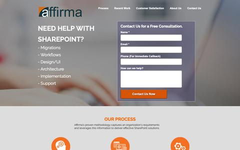 Screenshot of Landing Page affirmaconsulting.com - Affirma | Sharepoint Consulting - captured Sept. 27, 2018
