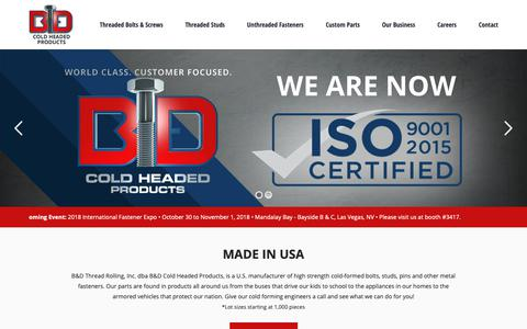 Screenshot of Home Page bdcoldheadedproducts.com - B&D Cold Headed Products - captured Sept. 26, 2018