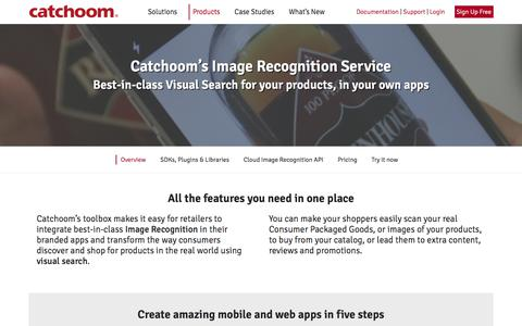Screenshot of Products Page catchoom.com - Catchoom Craftar Image Recognition Service for Retail Visual Search - captured July 12, 2018