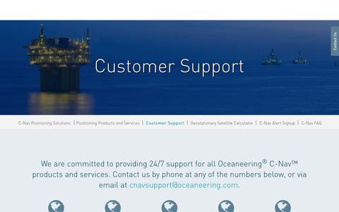 Screenshot of Support Page oceaneering.com - C-Nav Customer Support | Oceaneering : Oceaneering - captured Feb. 20, 2018