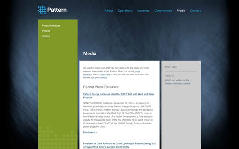 Screenshot of Press Page patternenergy.com - Pattern Energy :: Media - captured Oct. 2, 2014