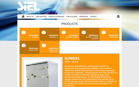 Screenshot of Products Page sielamerica.com - Siel America INC - Sunsiel - Soleil DSPX - Idrosoleil - Power Station - captured Oct. 27, 2014