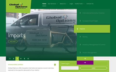 Screenshot of Home Page globaloptions.co.uk - Global Options / Courier Services - captured Nov. 8, 2016