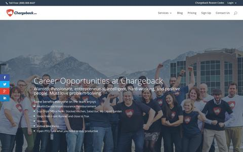 Screenshot of Jobs Page chargeback.com - Join the Chargeback Team - captured March 19, 2016