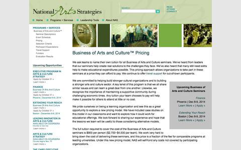 Screenshot of Pricing Page artstrategies.org - National Arts Strategies - Pricing - captured Nov. 5, 2014