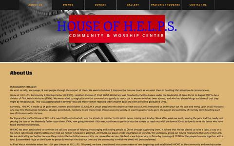 Screenshot of About Page hofhworship.org - About Us  |  House of H.E.L.P.S. - captured Oct. 3, 2014