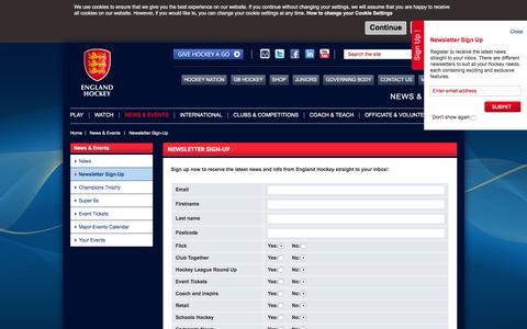 Screenshot of Signup Page englandhockey.co.uk - Newsletter Sign-Up - England Hockey - captured Jan. 15, 2016