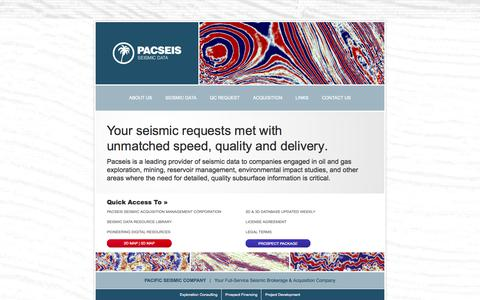 Screenshot of Home Page pacseis.com - PacSeis Inc - Seismic Data | Know Where to Start - captured Oct. 1, 2014