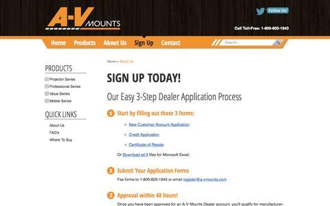 Screenshot of Signup Page a-vmounts.com - Dealer Registration || A-V Mounts: Wholesale Mounts for TV, Plasma, LCD, Projectors & More - captured Oct. 3, 2014