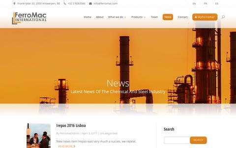 Screenshot of Press Page ferromac.com - News - Ferromac International - captured Oct. 13, 2017